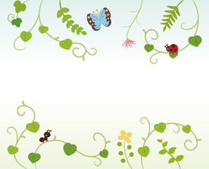 つる草と虫たちのフレーム