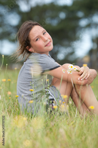 girl in flower field