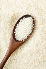 Chinese white rice on teaspoon
