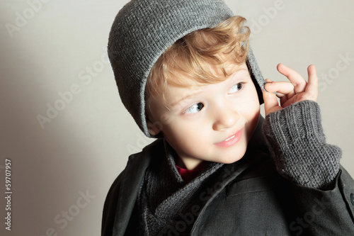 Fashionable Little Boy.Stylish Handsome Kid.Fashion Children