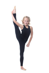 Cute little gymnast posing in vertical split