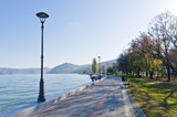Danube river wide like a sea, promenade at city of Golubac