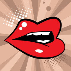 Open red lips, vector illustration