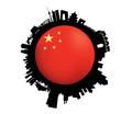 The Beijing Skyline Flag Globe