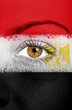 Egypt flag painted over female face