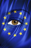 Europe or european union flag painted over female face