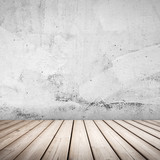 Fototapety Empty white concrete interior background with wooden floor
