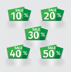 set of green Sale percent sticker price tag