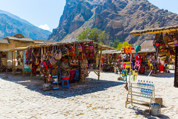 Souvenir market on street of Ollantaytambo,Peru,South America