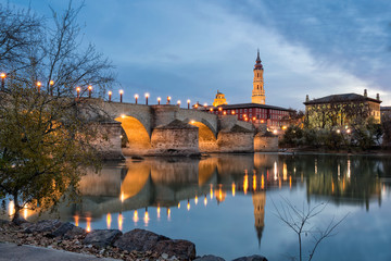 Tower and bridge in Zaragoza, Spain