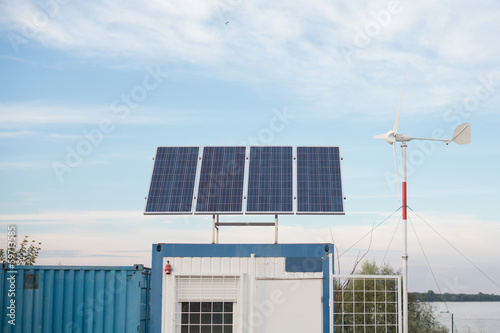 solar panel and wind turbine