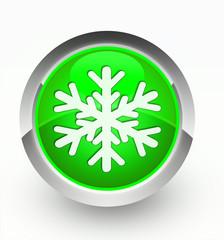 Knopf grün Schneeflocke