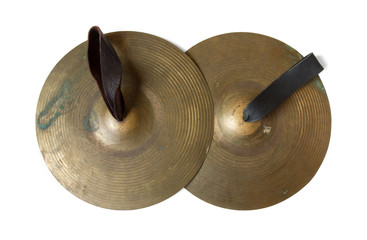 Old cymbals with leather handheld