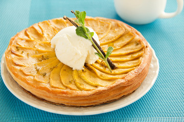 Tarte Tatin with mango ice cream.