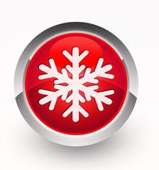 Knopf rot Schneeflocke