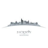 Jackson Mississippi city skyline silhouette white background
