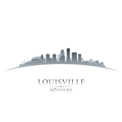Louisville Kentucky city skyline silhouette white background