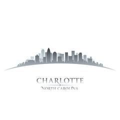 Charlotte North Carolina city skyline silhouette white backgroun