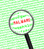 Magnifying glass locating malware in computer code poster