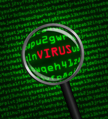 Magnifying glass locating a virus in computer code