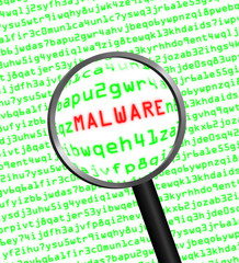 Magnifying glass locating malware in computer code