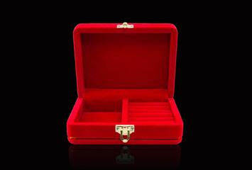Empty red velvet box