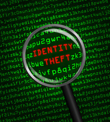 Identity Theft revealed in computer code through a magnifying gl