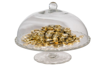 Glass cake stand with coins