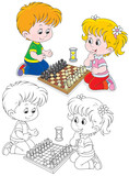 Children play chess