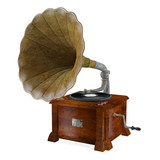 Vintage gramophone isolated.