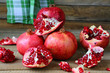 Rustic still life with pomegranates