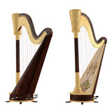 Ancient harp isolated. Two angles of view