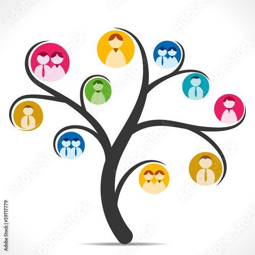 people tree or social media tree concept vector