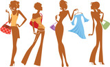 silhouette of fashion girl with bags and dress