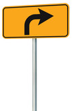 Right turn ahead route road sign perspective, yellow isolated ro