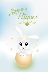 French Easter card with cute bunny in broken egg shell
