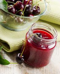 Cheery jam .Selective focus