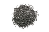 Black Volcanic Salt Pile On White Background