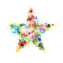 Abstract Star Symbol Made From Colorful Splashes, Blots, Stains