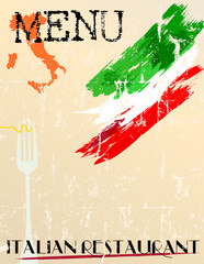 Menu for Italian restaurant, free copy space