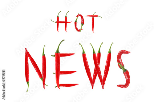 Staande foto Hot chili peppers HOT NEWS text composed of chili peppers. Isolated on white backg