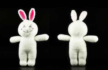 handmade crochet white rabbit doll on black background,front and