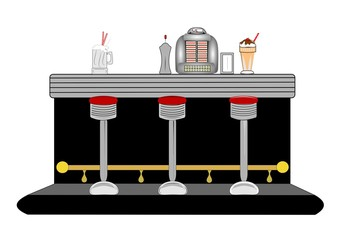 retro diner counter