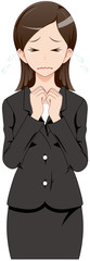 女性 スーツ 泣く