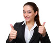 Happy business woman showing hands thumb up sign