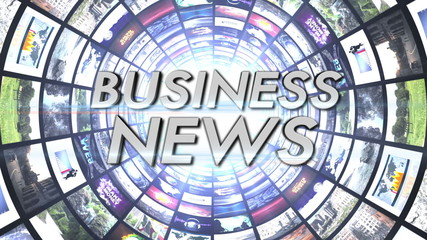 Business News Text in Monitors Tunnel, Loop