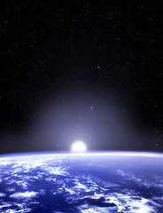 Earth planet viewed from space