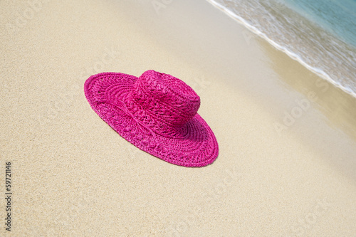 Pink Straw Hat on a Caribbean Beach