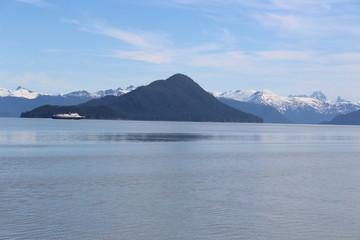 Alaska Ferry in Island Landscape