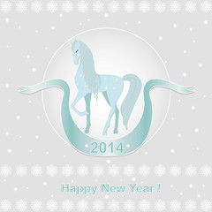 New Year card  with blue horse.Vector illustration.